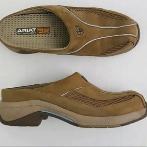 Ariat ATS tan suede slip on comfort mule shoes 6.5